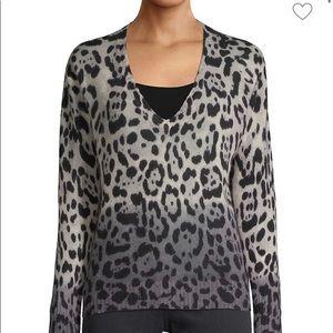 360 Cashmere Ombré Leopard Sweater